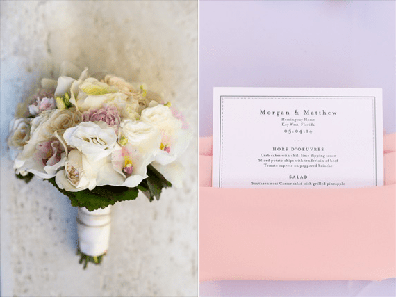 Filda Konec Photography - Hemingway House Wedding - bridal bouquet and wedding invitation