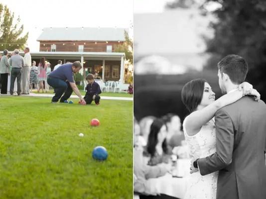 gilbert arizona wedding guests play bocce ball, bride and groom dance