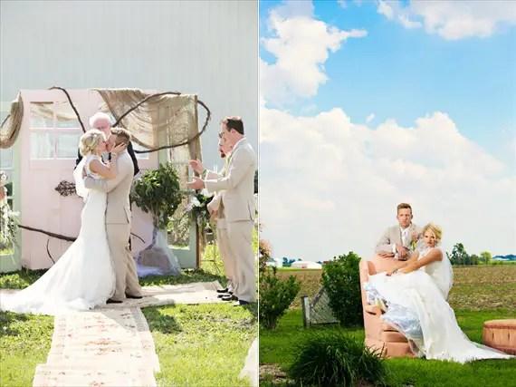KimAnne Photography - iowa-backyard-wedding - bride-groom-married-chair-field