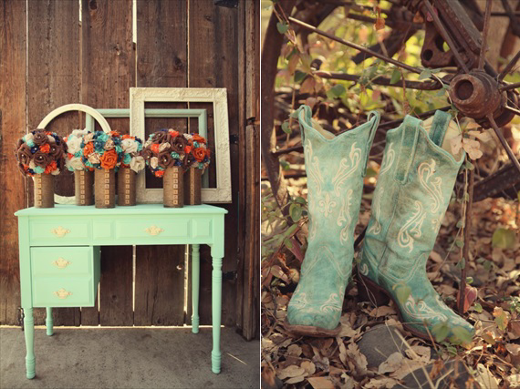 Drozian Photoworks - vintage wedding decor and rustic cowgirl boots