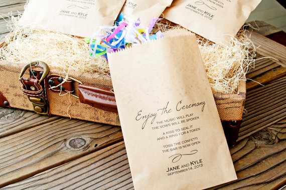 Ceremony Exit Ideas: ceremony confetti bags + program (by Mavora Art & Design)