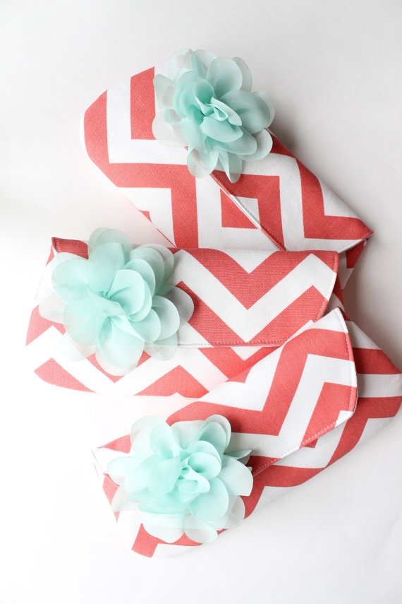 coral and mint bags
