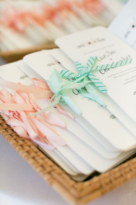 coral and mint beach wedding programs