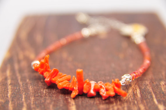 coral bracelet with beads via beach wedding jewelry ideas