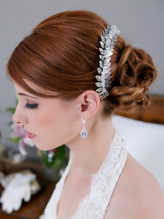 crystal halo leaves hair vine via 15 Stunning Wedding Veil Alternatives