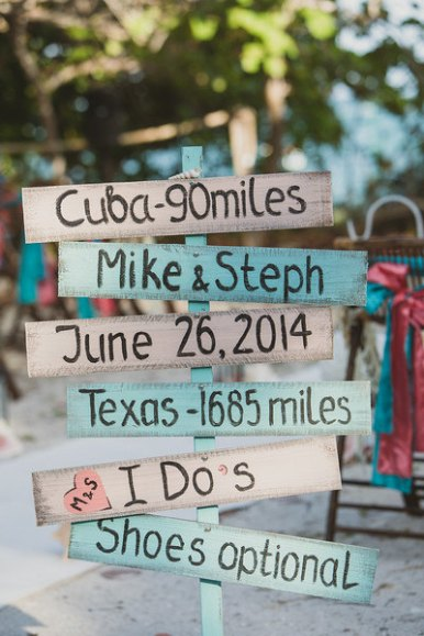 cute beach ceremony sign directions