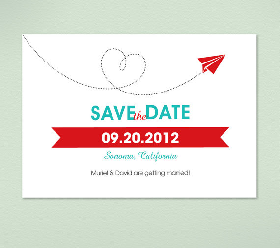 Modern Red and White Heart Invitations for Weddings