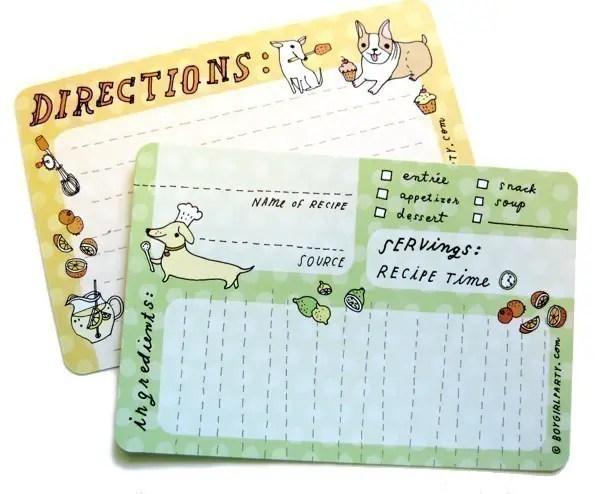cute dog print kitchen recipe cards