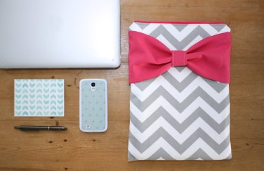 cute laptop case chevron with hot pink bow