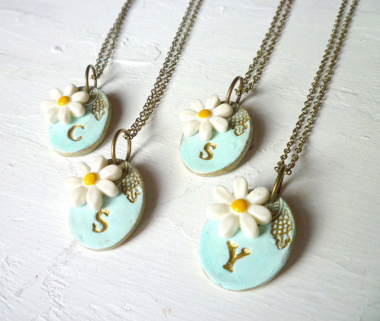 daisy bridesmaid necklaces by palomaria | daisy ideas theme weddings