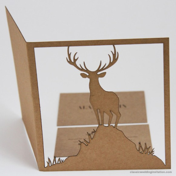 deer cut out rustic wedding invitation