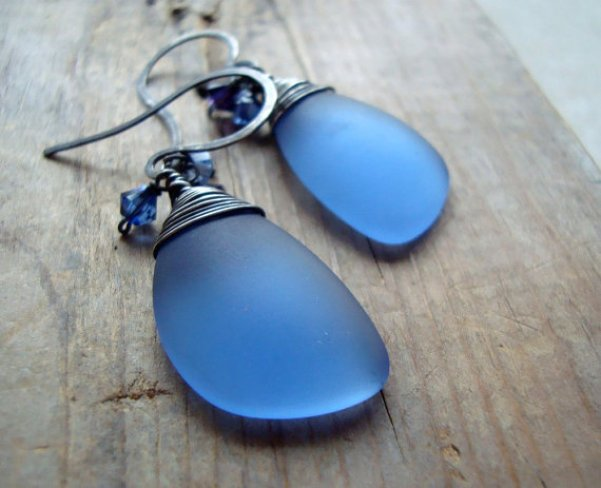 denim blue sea glass earrings by fuchsia bloom studio