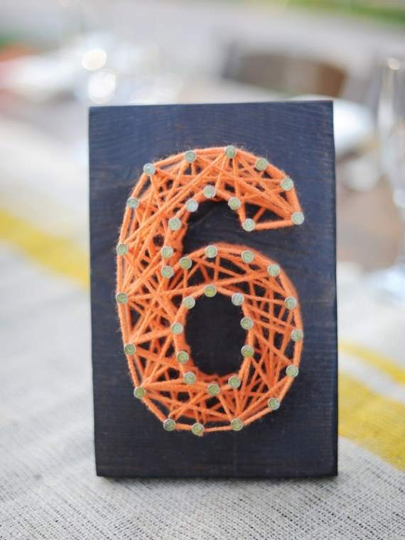 DIY Nail and String Table Numbers