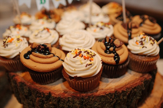 DIY Fall Wedding - Photo by Noelle Ann Photography - #cupcakes #tree-slices