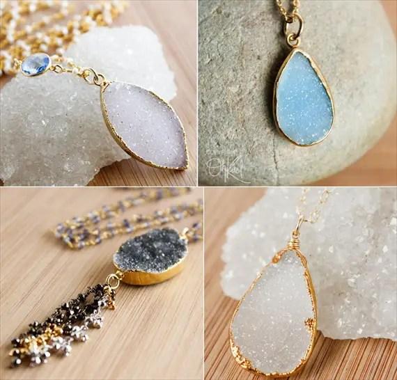 druzy jewelry necklaces