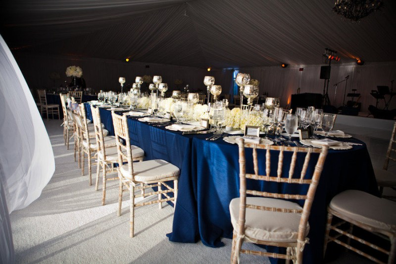 elegant navy blue table