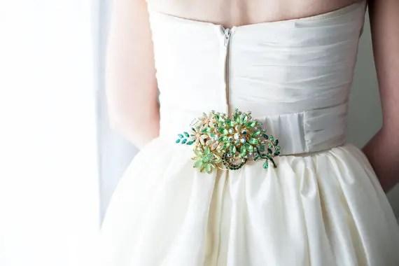 emerald green vintage brooch dress sashes