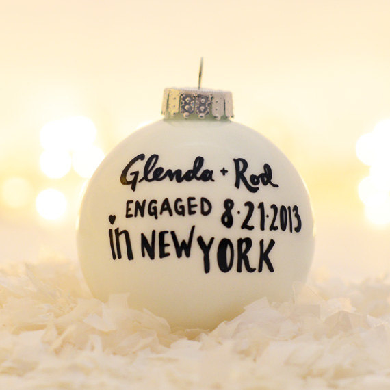 engaged in ornament TwentyTwoTurtledoves via 50+ First Christmas Ornaments Engaged / Married