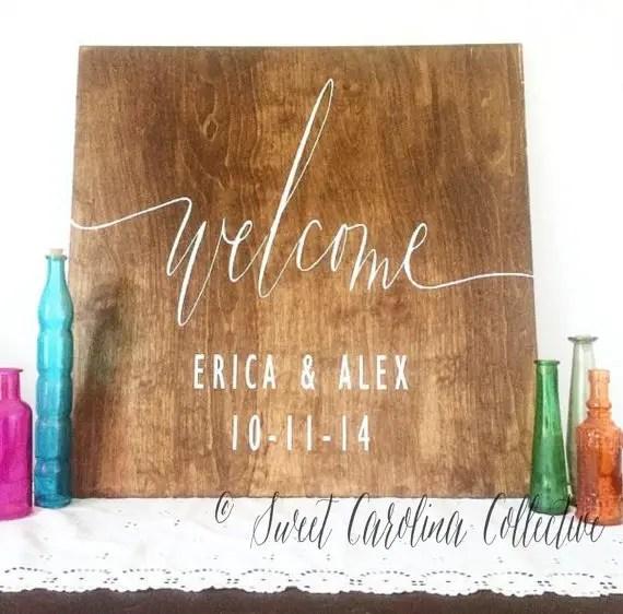 english oak wedding welcome sign