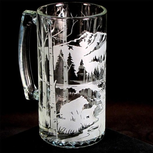 etched mountain glass