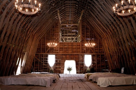 Rustic Fall Ceremony Ideas - hay bales for seating inside barn (photo by erin kling photography)