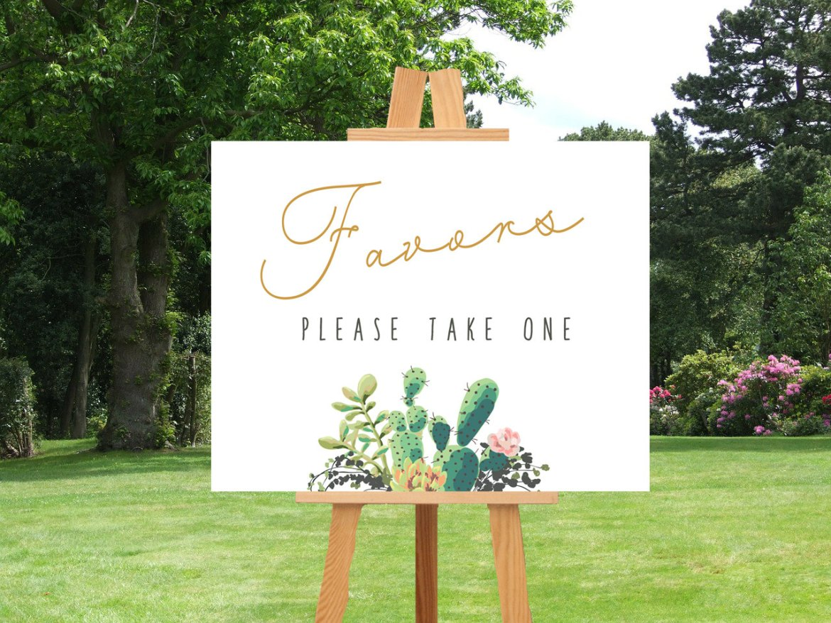 favors cactus weddings sign by lisas graphic design