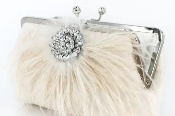 Feather Rhinestone Clutch by Angee W.