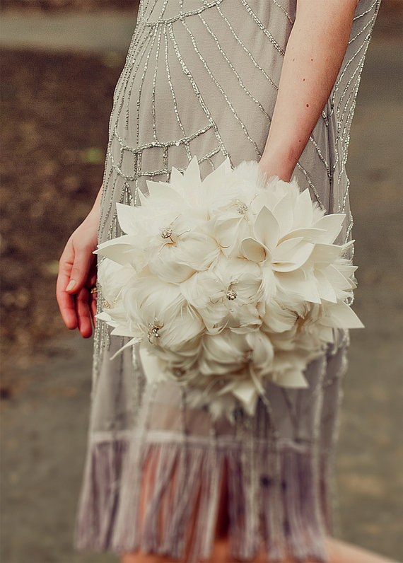 Feather Themed Wedding - feather bouquet by hairbows wonderworld