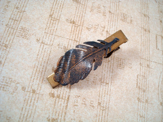 Feather Themed Wedding - feather tie clip by spd jewelry