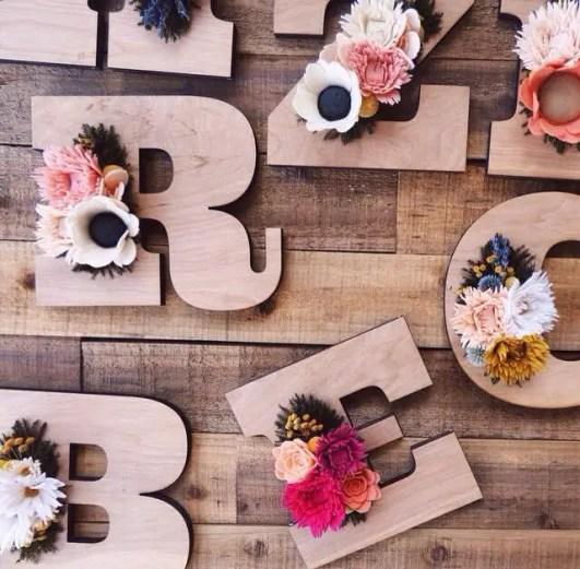 felt wildflower wooden letter