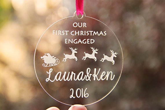 first christmas engaged ornament  by esprint09
