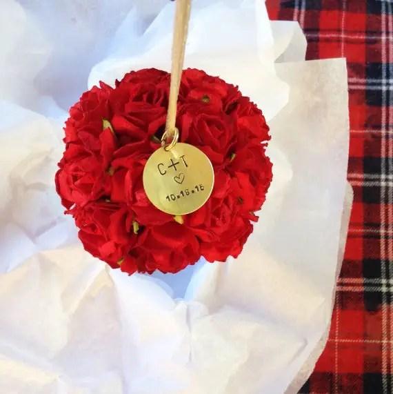 first christmas ornament karasvineyardwedding - red