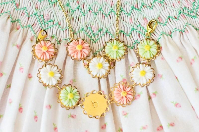 flower girl daisy bracelet and necklace set by sweet auburn studio kid | daisy ideas theme weddings