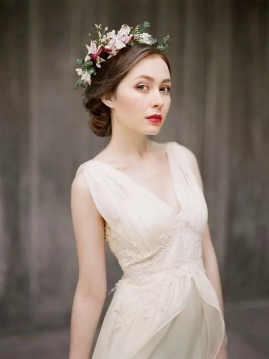 flowy chiffon wedding dress left