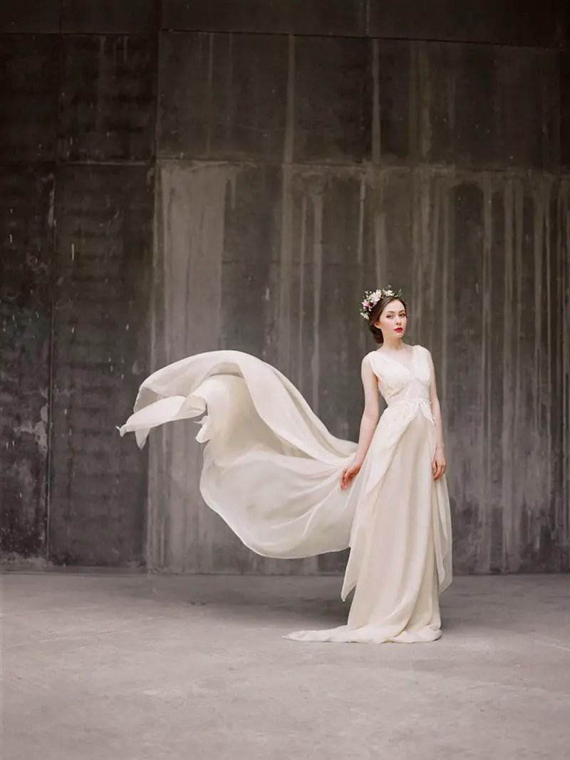 flowy chiffon wedding dress