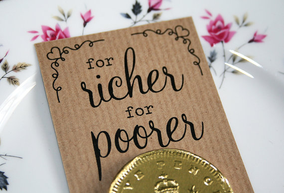 for richer for poorer wedding favors - left