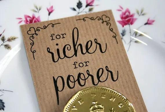 for richer for poorer wedding favors - left