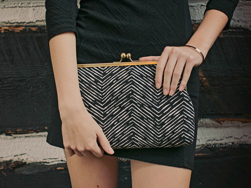 geometric black and white clutch
