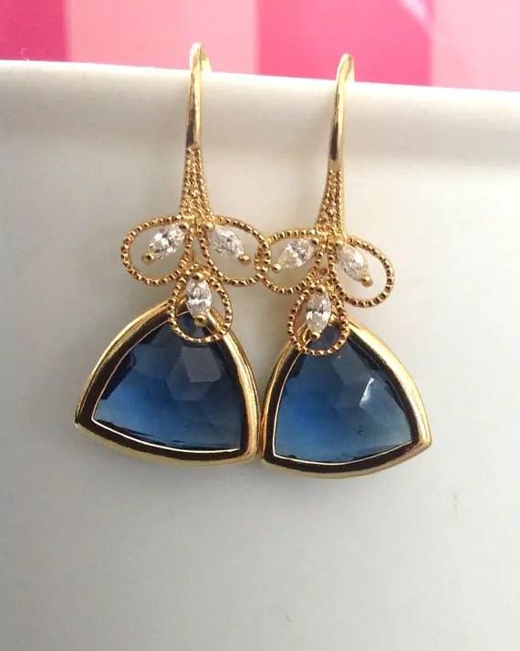 geometric wedding blue drop earrings