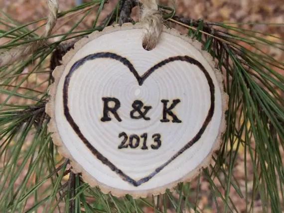 go rustic tree slice ornament