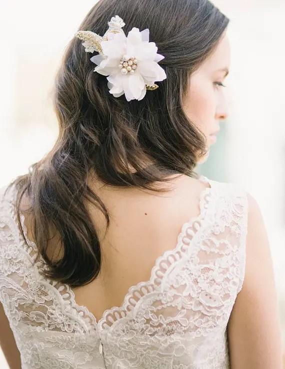 gold beaded flower via 15 Stunning Wedding Veil Alternatives