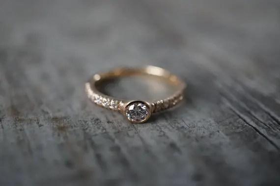 gold bezeled diamond engagement ring | Engagement Rings Etsy | via http://emmalinebride.com/jewelry/40-best-handmade-rings-ever/ 