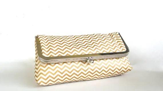 gold chevron wedding clutch purse