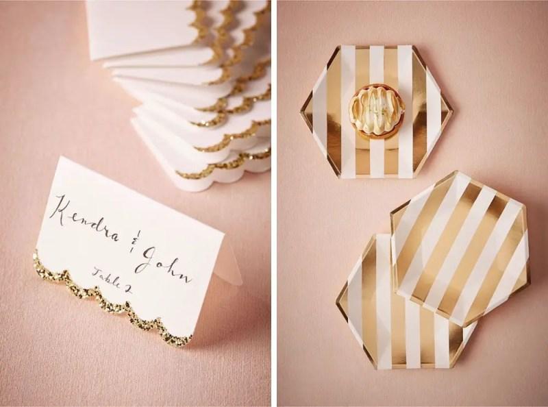 These gold-dipped place cards are so pretty for fall. | via BHLDN Decor Ideas | http://emmalinebride.com/vintage/bhldn-decor-ideas-weddings/