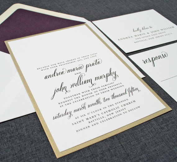 Cream and Gold Wedding Ideas: gold wedding invitations (by Cricket Printing) class=