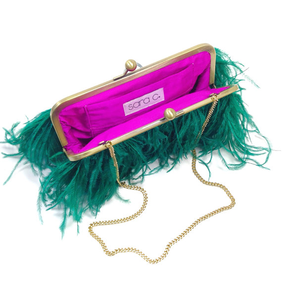 bridal clutch bags - green feather clutch with fuchsia liner #peacock #wedding
