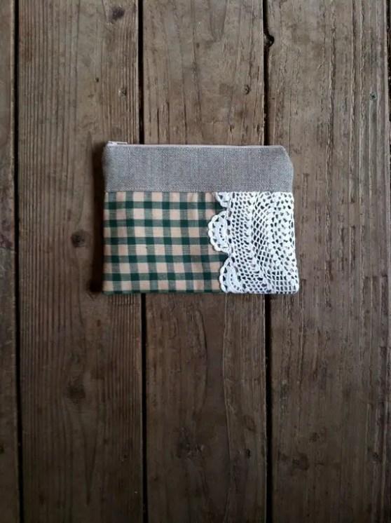 green plaid doily clutch purse
