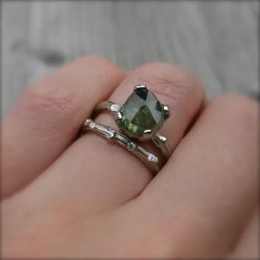 bold green sapphire engagement ring diamond alternative