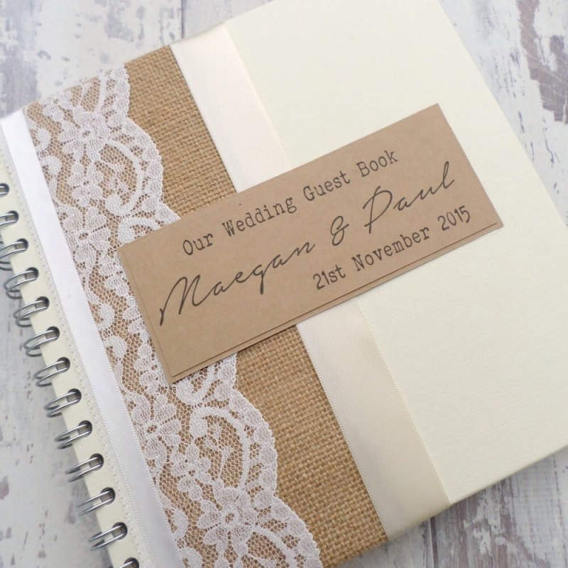 handmade guest book with lace and burlap by the paper bird company