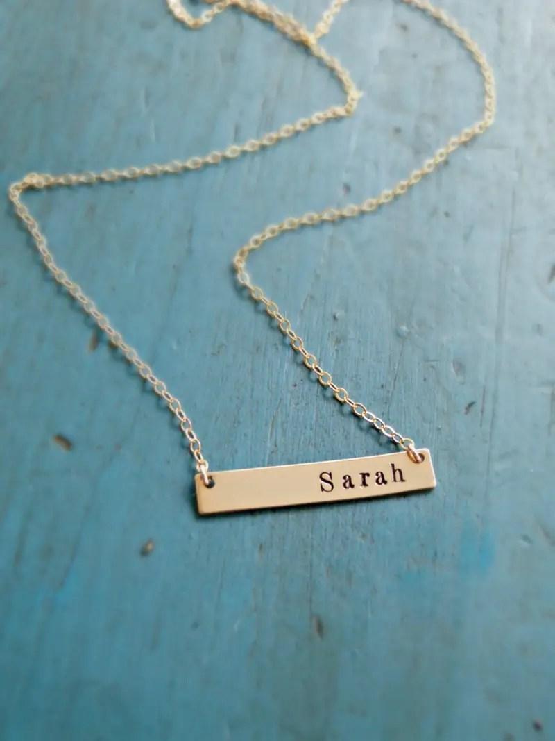 handstamped gold bar necklace